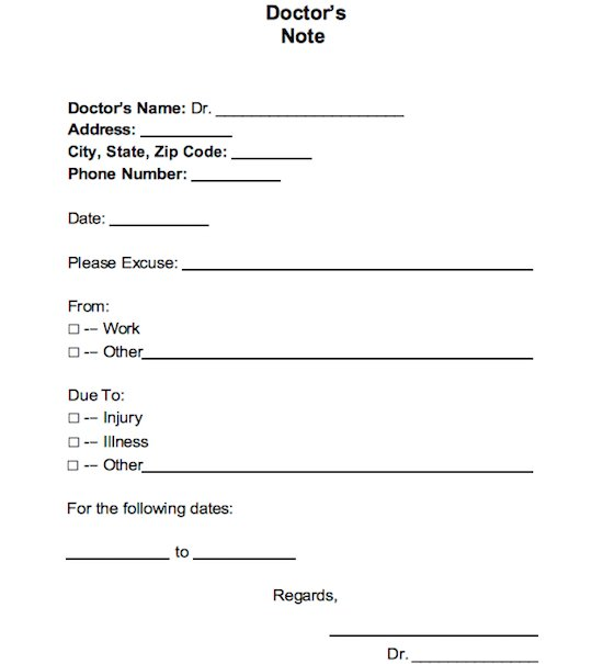 free doctor u0026 39 s note  excuse note templates