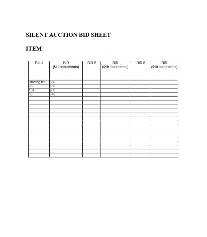 template for silent auction