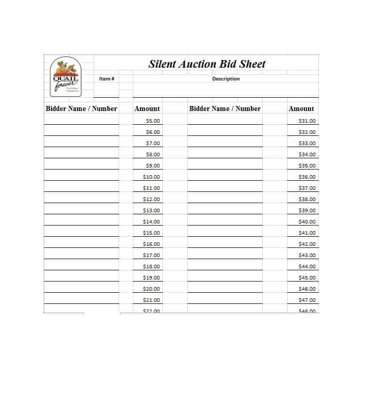 Free Silent Auction Bid Sheet TemplatesWordExcel Template Section – Sample Silent Auction Bid Sheet