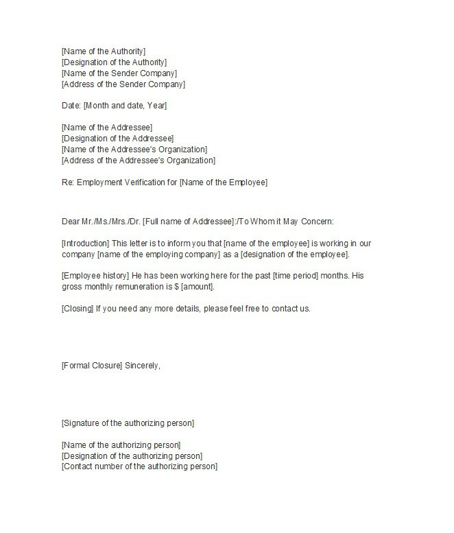 Employment Verification Letters Employee Verification Letter