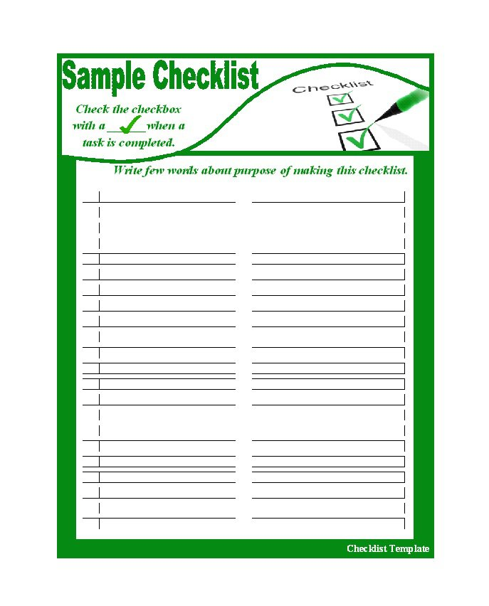 Free ChecklistToDoList Templates Excel Word  Template Section