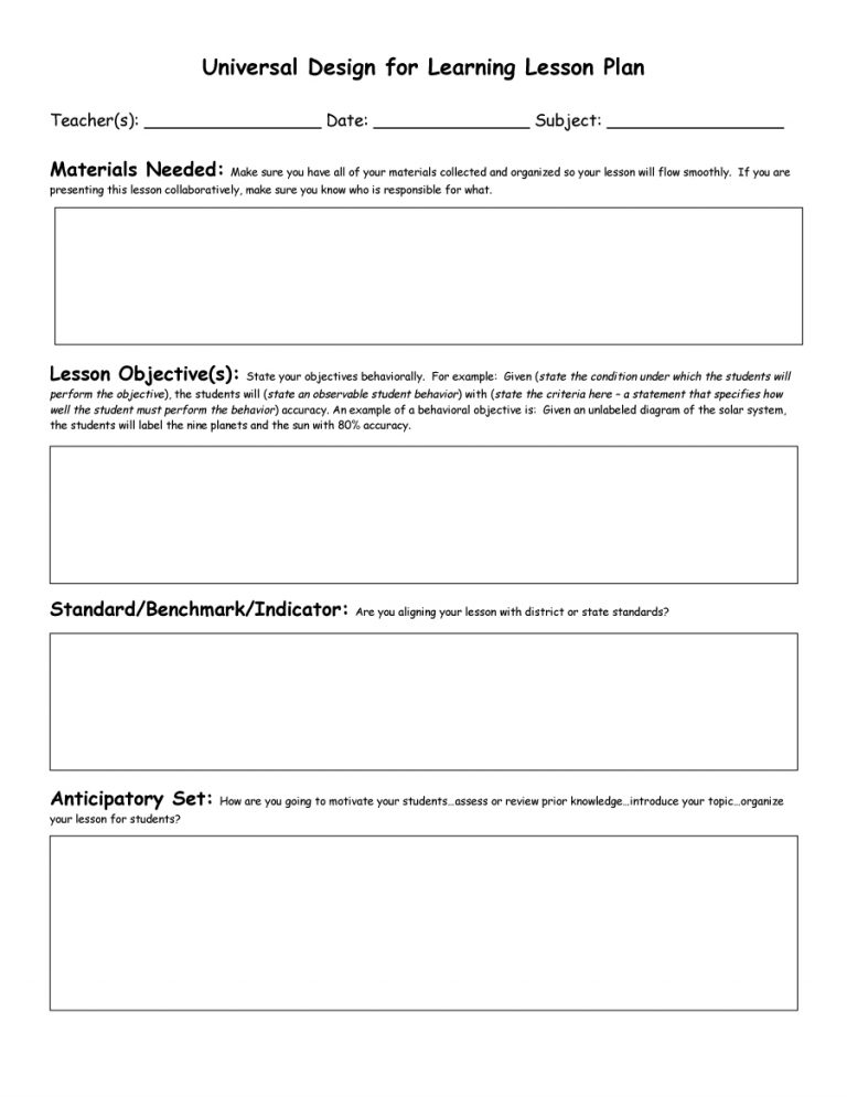 Free Lesson Plan Templates Word PDF Template Section - Lesson plan templates word