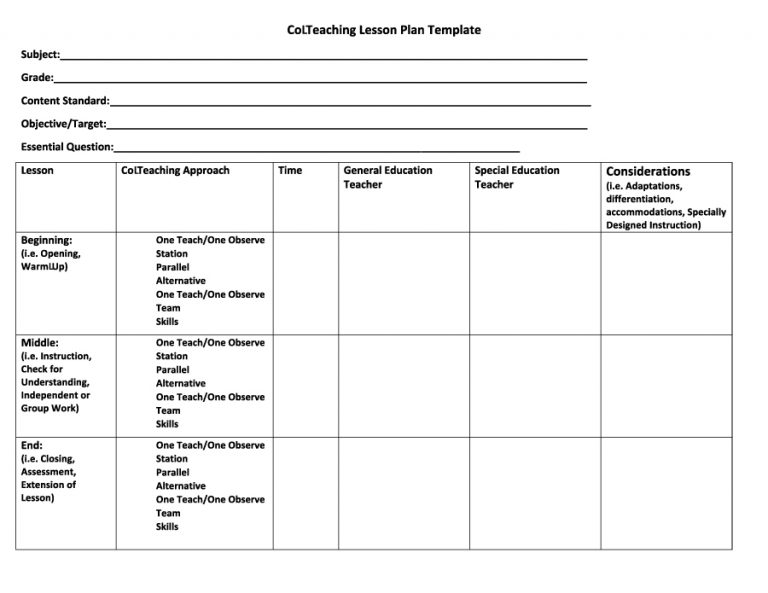 Free Lesson Plan Templates Word PDF Template Section - Download lesson plan template
