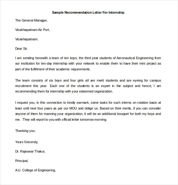 recommendation letter for internship pdf