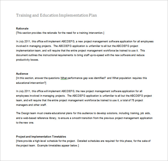 10 Training Guide Templates  Template Section