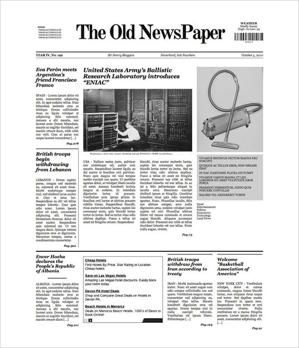 photograph relating to Free Printable Newspaper Template named Free of charge Newspaper Template - 10+ Blank Google Docs Term