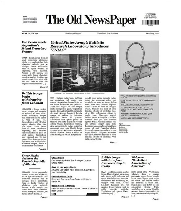 Free newspaper template 10 blank google docs word for Newspaper article template online