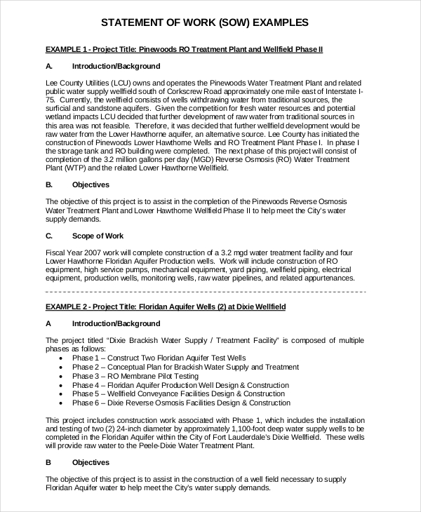 génial Free Statement of Work Template