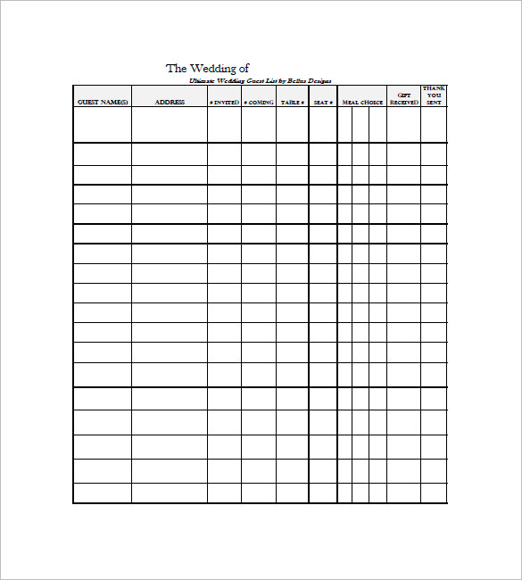 Wedding Guest List Templates   Free Printable Excel Sample