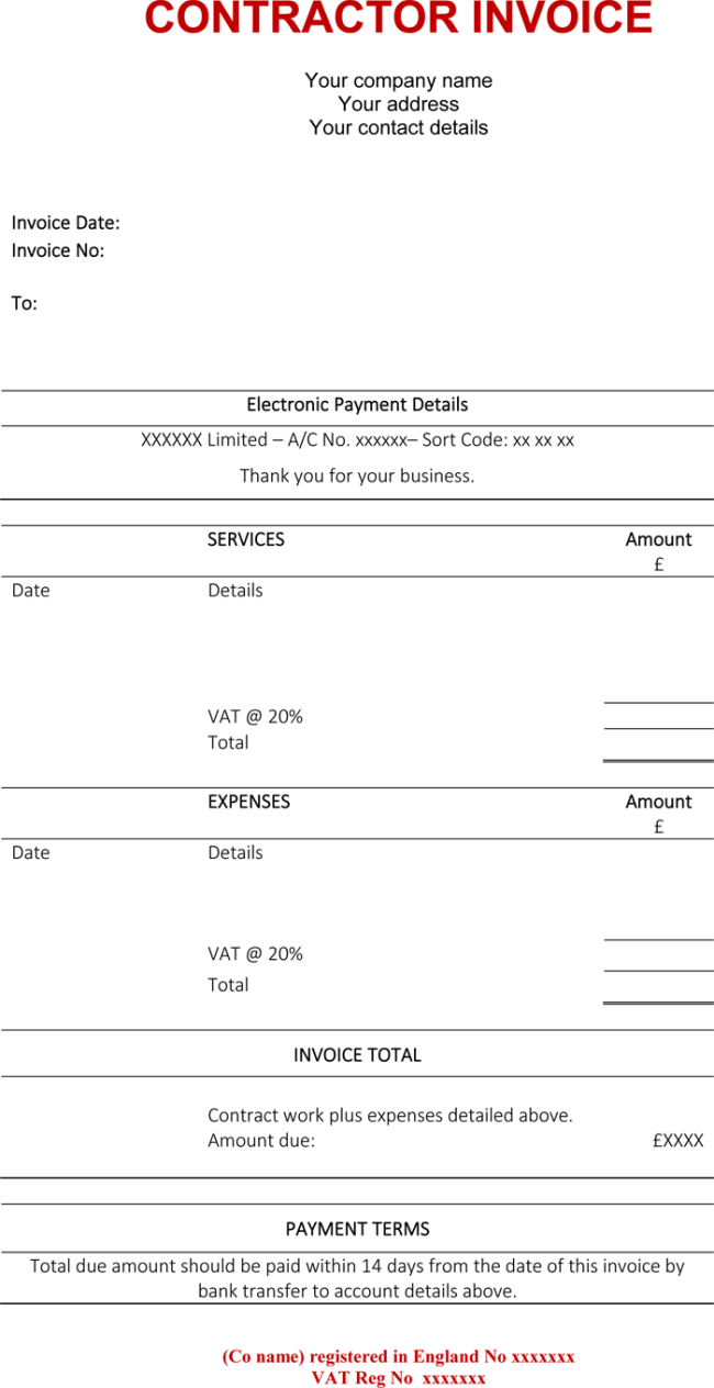 Contractor Invoice Templates Free Excel Word PDF Template - Contractor invoice template word