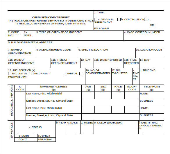 Police Report Templates 8 Free Blank Samples Template Section