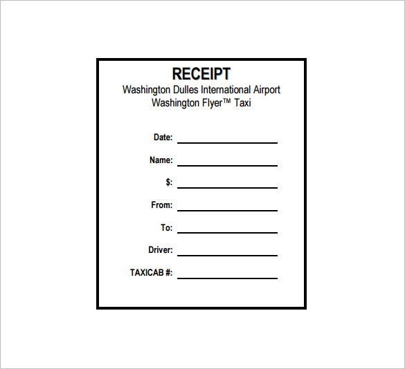 Taxi Receipt Templates - Free 8+ Sample Word PDF - Template Section