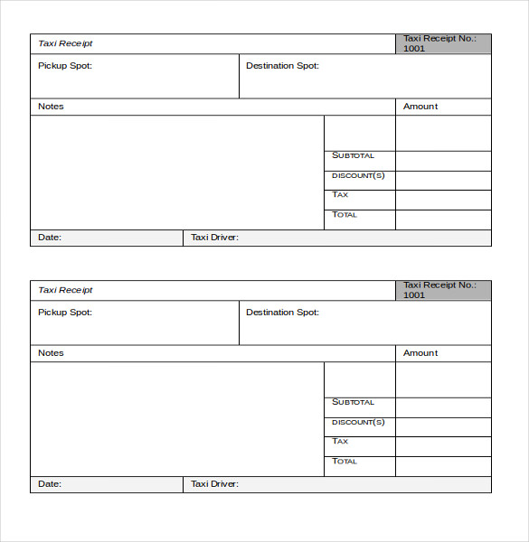 Taxi Receipt Templates - Free 8+ Sample Word PDF ...