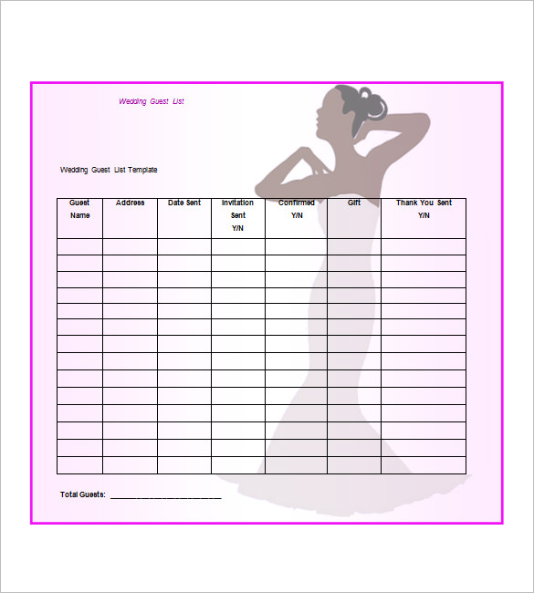 Wedding Guest List Template, Wedding Guest List Template Excel, Printable  Wedding Guest List Template  Free Printable Guest List