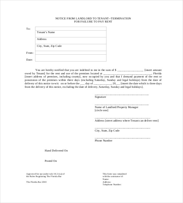 Free Eviction Notice Template  Eviction Notice Example