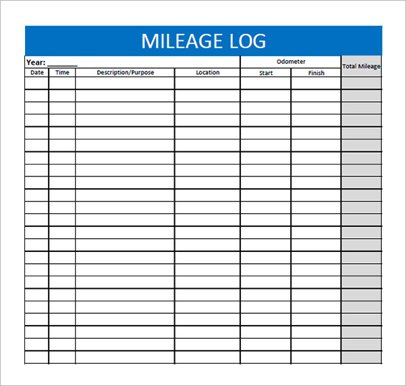 Vehicle Mileage Log Template   Free Printable Excel  Template