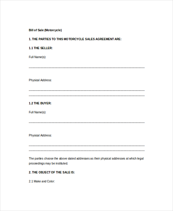 free business bill of sale template