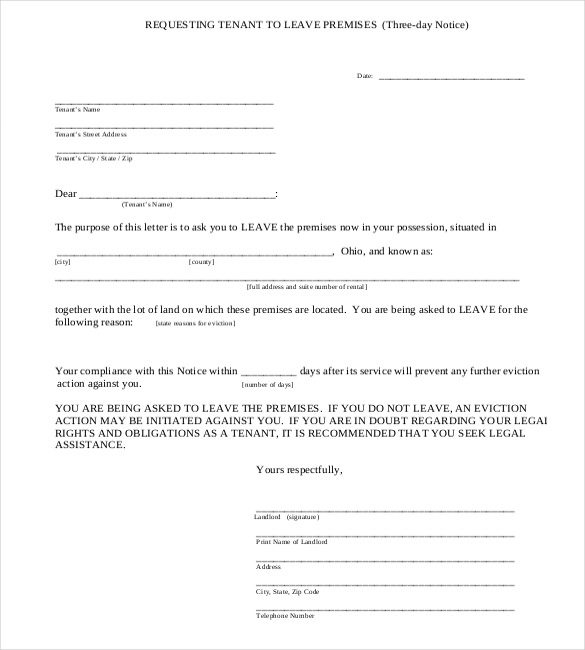 Three Day Eviction Notice Template  Free Printable Eviction Notice Template