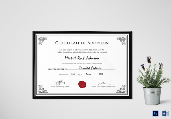 Adoption Birth Certificate Template  Official Certificate Template