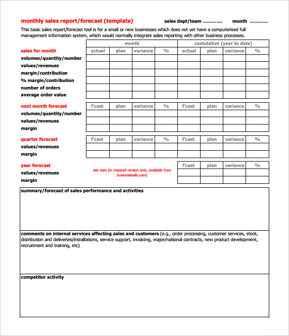 Monthly Report Format Templates Sales Project Business