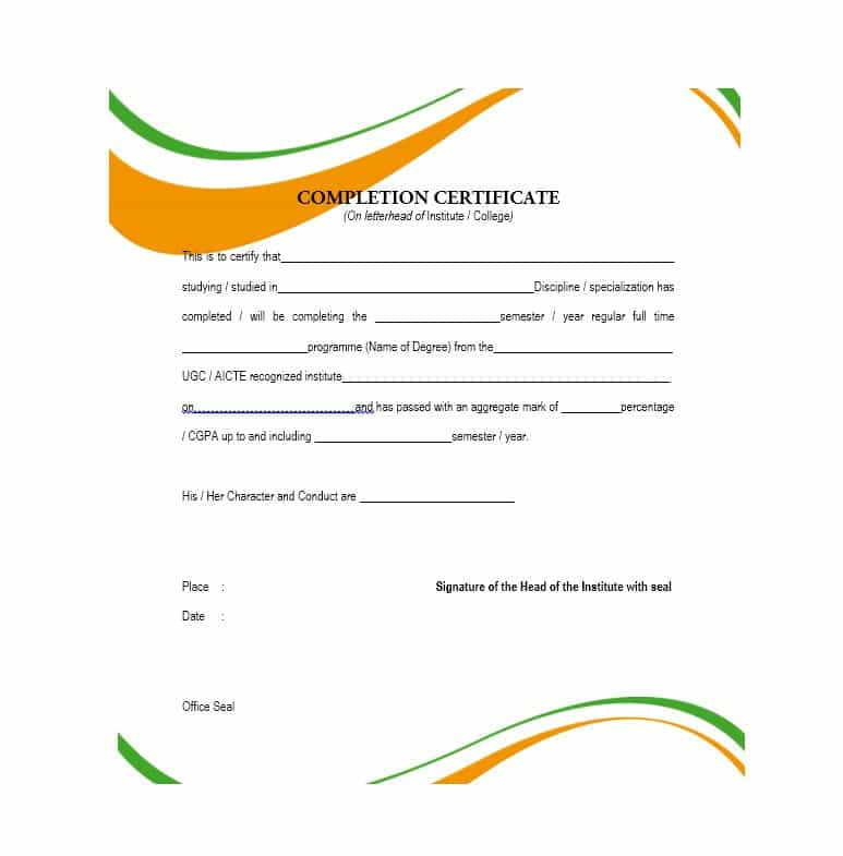 Certificate Of Completion Template Free Word Pdf Download