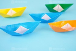 Colorful group of origami boats