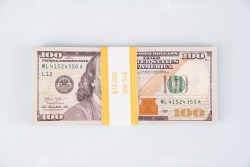 Hundred dollars on bright blue