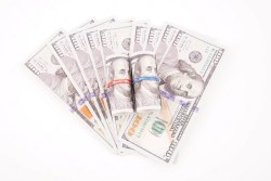 Isolated dollar banknotes on white