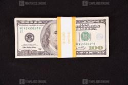 Old Ten Thousand dollars on black fabric