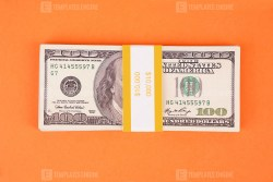 Ten Thousand dollars on orange background