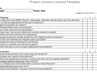 Supplier evaluation template for microsoft word for Project management lessons learnt template