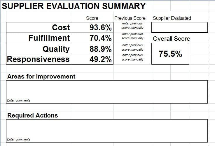 Supplier Evaluation Scorecard Download for Microsoft Excel – Supplier Evaluation Form