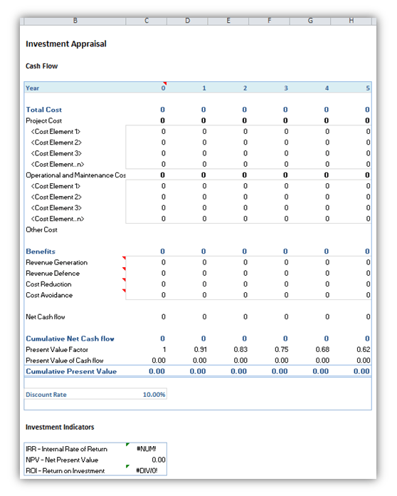 Investment Appraisal Calculator XLSX spreadsheet. Used to Calculate Net Presnet Value (NPV), Internal Rate of Return (IRR) and Return on Investment (ROI)