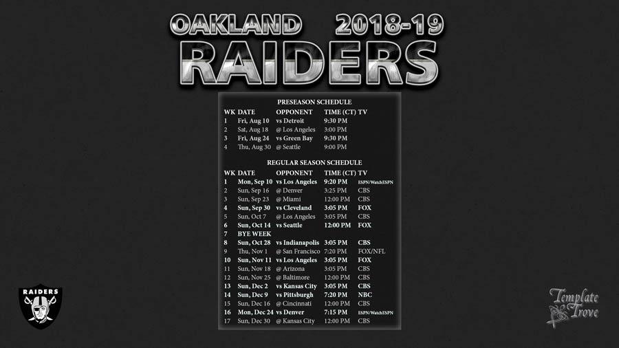 2018 2019 Oakland Raiders Wallpaper Schedule