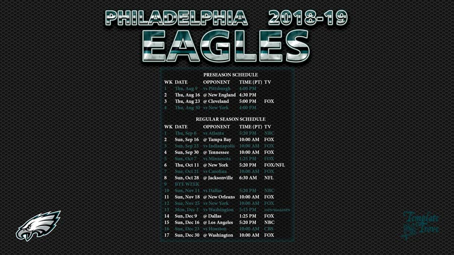 2018 2019 Philadelphia Eagles Wallpaper Schedule