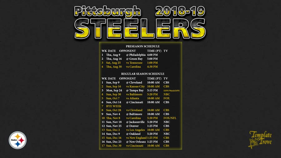 2018 2019 Pittsburgh Steelers Wallpaper Schedule