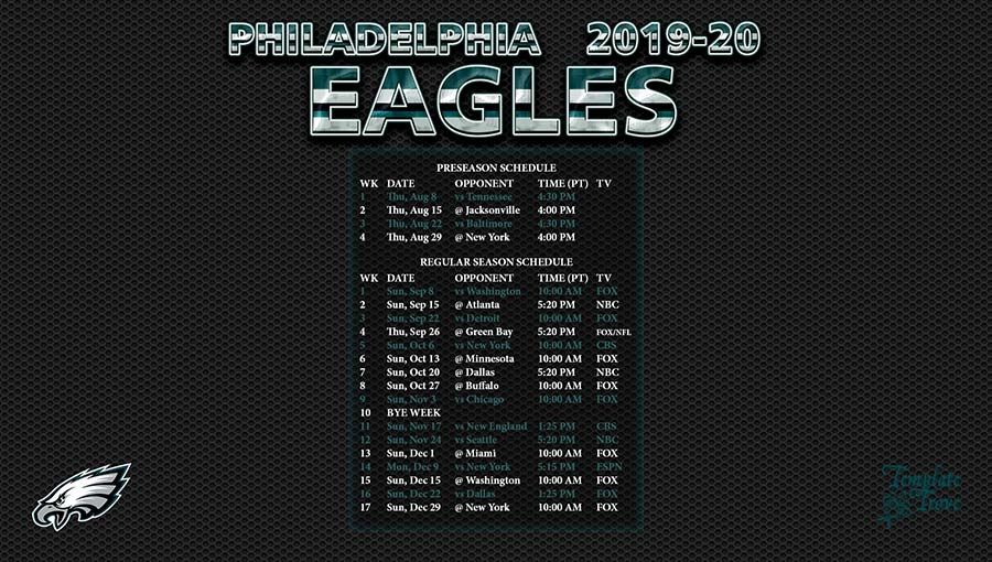 2019 2020 Philadelphia Eagles Wallpaper Schedule