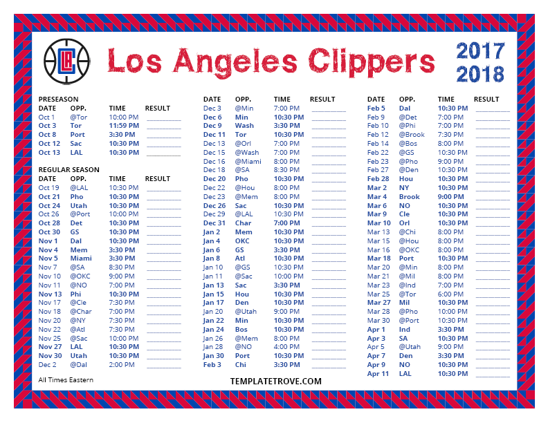Printable 2017 2018 Los Angeles Clippers Schedule