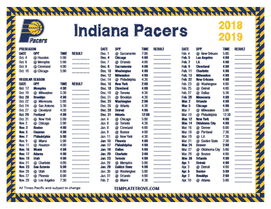 Printable 2018 2019 Indiana Pacers Schedule