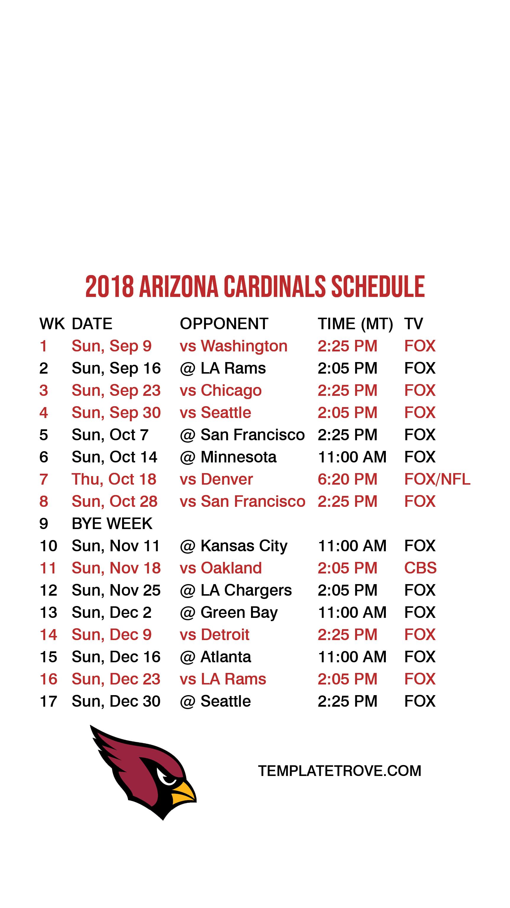 Iphone 49ers Wallpaper 2018 2019 Arizona Cardinals Lock Screen Schedule For