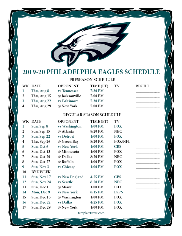 Printable Eagles Schedule 2019 : printable, eagles, schedule, Printable, 2019-2020, Philadelphia, Eagles, Schedule