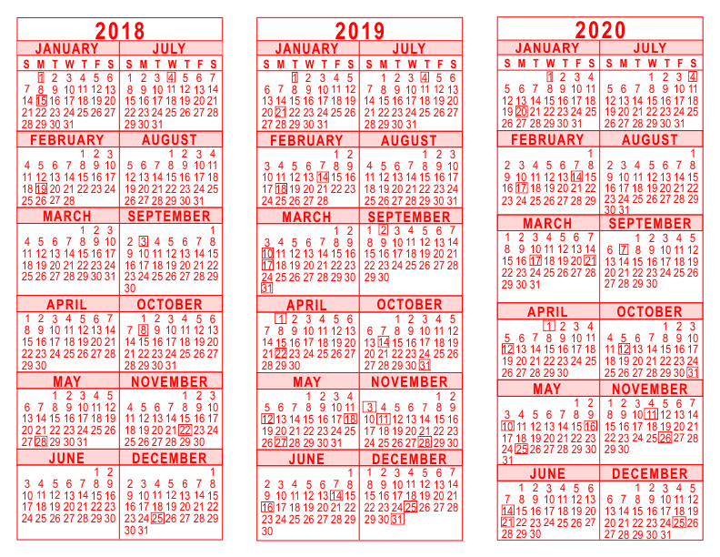 2018 2019 2020 3 Year Calendar