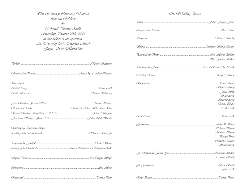 Catholic Wedding Program Template 4