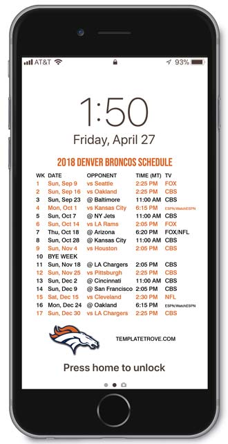 Chargers Iphone Wallpaper 2018 2019 Denver Broncos Lock Screen Schedule For Iphone 6
