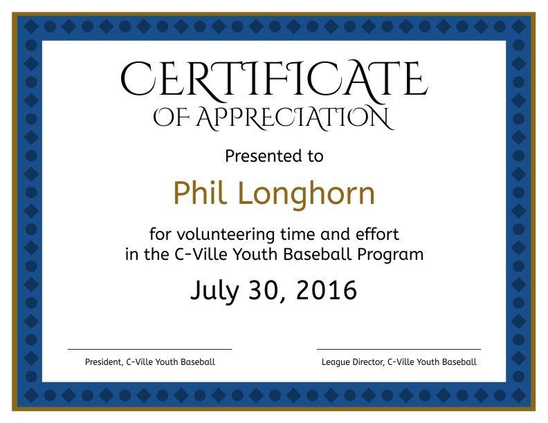 appreciation of service certificate
