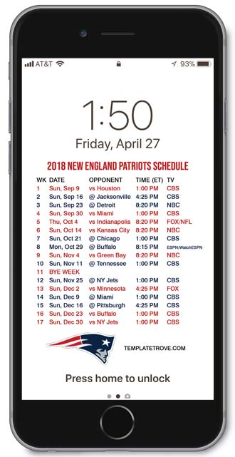 Patriots Iphone Wallpaper 2018 2019 New England Patriots Lock Screen Schedule For