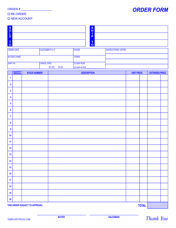 order form examples template