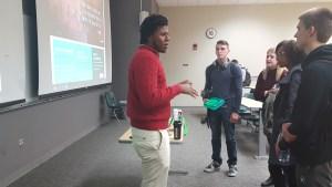Demarco Lockhart lectures at FSU entrepreneurship class