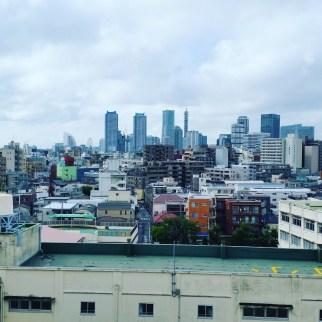 The Yokohama skyline from the foriegn language floor of Kanasoh