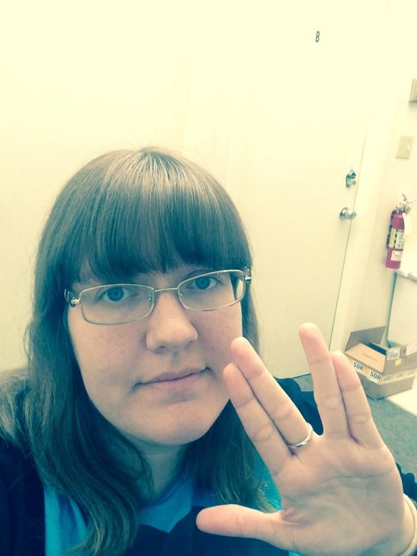 Katie Vulcan salute